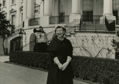 Mamie in Front of White House Drive April 1 1956